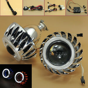 2 8 Car Headlights Hid Bi Xenon Projector Lens Kit Halo Angel Eye Cnlight Lamp