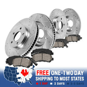 Front Rear Drill Slot Brake Rotors Ceramic Pads For Mercedes S350 Rwd W220