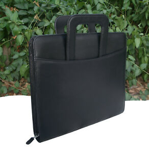Franklin Covey Monarch Black Simulated Leather Zipper Binder With Handles