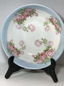 Vintage German Porcelain Bowl Victorian Roses Shabby Chic Germany 23 Blues Pink