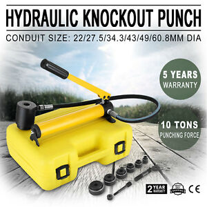 10t Hydraulic Knockout Punch Hand Pump 6 Dies Hole Tool Driver Kit W case