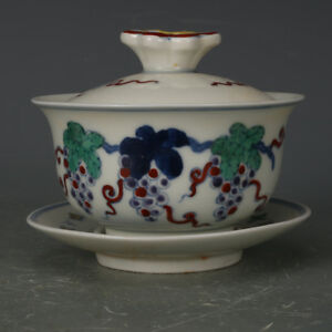 China Antique Porcelain Ming Chenghua Hand Painting Grape Cover Bowl Cup