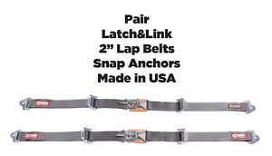 Rzr New Pair 2 Latch Link Seat Belt 2 Point Clip Snap In Lap Belts 6005 Grey