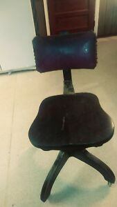 Antique Vintage Wood And Leather Rolling Office Chair Swivel Adjustable Wheels