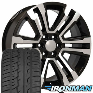22 Rims Tires Fit Gm Chevy Sierra Silverado Denali Black Mach D Wheels Ironman