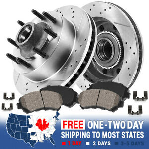Front Drill Brake Rotors Ceramic Pads For Chevy C2500 C3500 Express Suburban