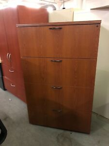 4dr 36 w Lateral File Cabinet By Ofs Office Furniture In Cherry Finish Laminate