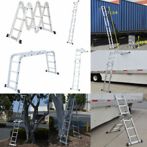 En131 12 5ft Aluminum Telescopic Extension Ladder Tall Multi Purpose 330lb Q3l6