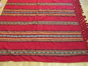 Antique Coverlet Blanket Wool Carpet Red Striped Balkan Bedspread Lace