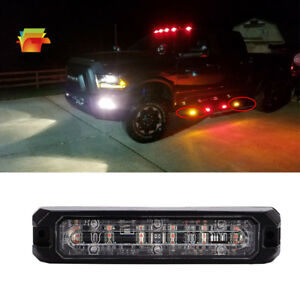Amber 6 Led Truck Emergency Beacon Warning Hazard Strobe Light Traffic Advisor
