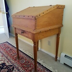 19th C Primitive Slant Top Schoolmaster Desk With Drawer Mint