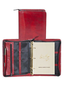 Scully Leather 8053z Red Italian Leather 3 ring Planner