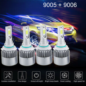 4 Bulbs Kit 9005 9006 6000k Combo Cree Led Headlight High Low Beam Bulbs 2820w