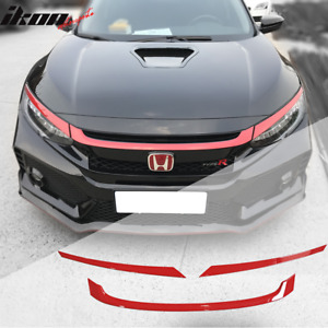 Fits 16 18 Honda Civic Type R Style Red Grille Trim 3pc Abs