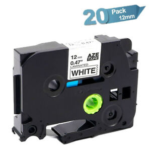 20pk Compatible Brother P touch Tze 231 Black On White Label Tape Laminated