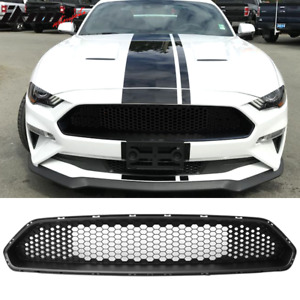 Fits 18 20 Ford Mustang Front Upper Mesh Grille Matte Black Abs