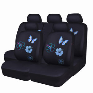 Carpass Car Seat Cover Blue Color Mesh Butterfly Full Set Universal Fit For Girl