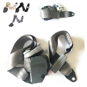 3 Point Retractable Car Seat Lap Belt Buckle Extender Strap Safety Buckle Gray