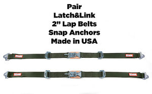 Olds New Pair 2 Latch Link Seat Belt 2 Point Clip Lap Belt Military Green