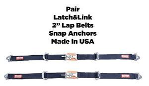 Gm New Pair 2 Latch Link Seat Belt 2 Point Clip Snap In Lap Belts Navy 4004