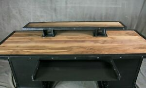 Desk With Storage Bases Industrial Executive Desk Walnut Wood And Steel