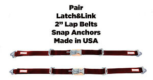 Rzr New Pair 2 Latch Link Seat Belt 2 Point Clip Snap In Lap Belts Red Wine