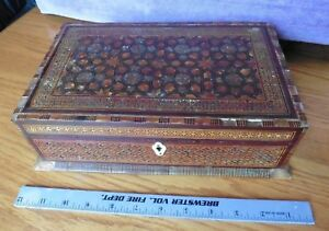 Vintage Wooden Box With Inlay Antique Hand Made Lock Trinket Jewelry Box Humidor