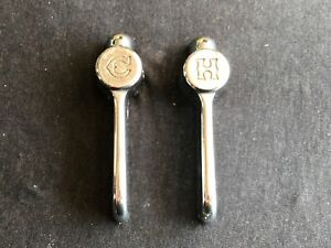Set Vintage Water Faucet Knobs Handles Hot Cold Chrome Chicago Mfg Co 2535382