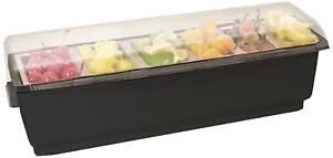 Co rect Roll Top Condiment Holder With Six 1 quart Inserts Black