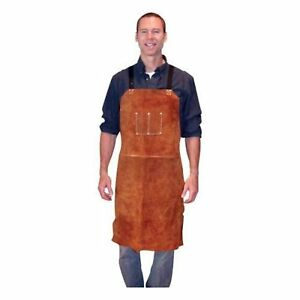 Leather Cowhide Bib Apron Two Pockets Dark Brown 24 inch X 36 inch Heavy duty