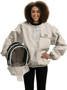 Bees Co K74 Natural Cotton Beekeeper Jacket With Fencing Veil small