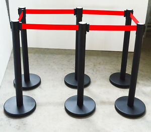6 Red Belt Stanchion Posts Queue Pole Retractable Crowd Control Barrier 170524