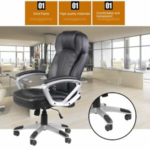 Pu Leather Office Chair High Back Executive Task Ergonomic Computer Desk Bu
