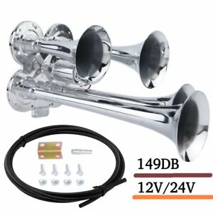 Loud 149db 4 four Trumpet Train Air Horn Metal Chrome Car truck boat 12v 24v