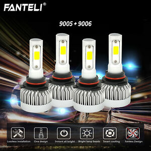 9005 9006 6000k 393000lm Combo Fanless Cree Led Headlight Kit Hi Low Light Bulbs
