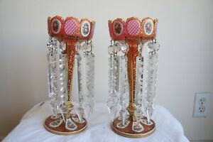 Pair Of 19th Century French Overlay Glass Lusters