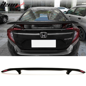 Universal Fitment Trunk Spoiler Deck Wing With 2 Posts Led Turn Signal Light