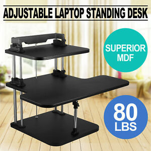 3 Tier Adjustable Computer Standing Desk Mobile Tray Workstation Sit stand
