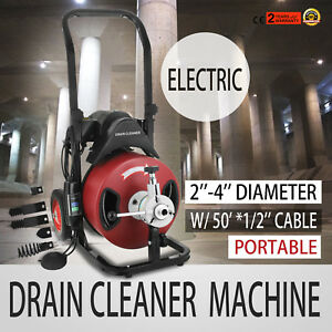 50ft 1 2 Drain Auger Pipe Cleaner Machine Powerful For 2 4 Pipeline Electric