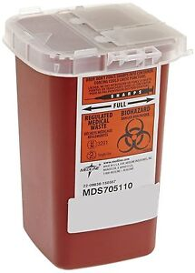 1 Quart Sharps Container Biohazard Needle Disposal 1 Qt Size Tattoo