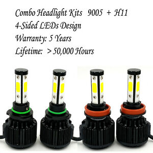 9005 H11 Combo Total 3660w 549000lm Cree 4 sided Led Headlight Kit Bulbs 6000k