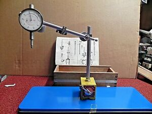 Enco Magnetic Base With Indicator And Attachments In Wood Box