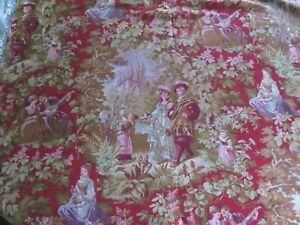 Antique French C1870 Midieval Style Cotton Personnage Toile Fabric 1yd20 Lx31 W