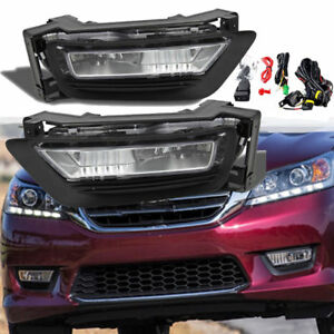 For 2013 2015 Honda Accord Sedan 4dr Front Bumper Fog Lights Lamps Assembly L R
