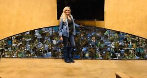 Tiffany Type Possibly Lafarge Large Arch Stained Glass Grape Arbor Window
