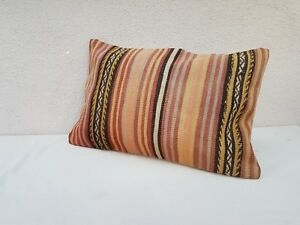 Cottage Decor Kilim Lumbar Pillow Cover Area Rug Outdoor Cushion 16 X 24