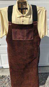 Premium Leather Blacksmith Welding Mechanic Shop Apron With Pockets Bison