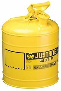Justrite 7150200 5 Gallon Galvanized Steel Type I Yellow Safety Can