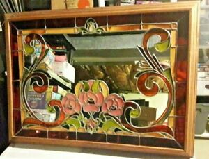 Beautiful Vintage Deco Style Art Glass Large Mirror Rare Hand Crafted 38 X 27 5