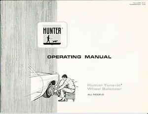 Operating Manual Hunter Tune In Wheel Balancer